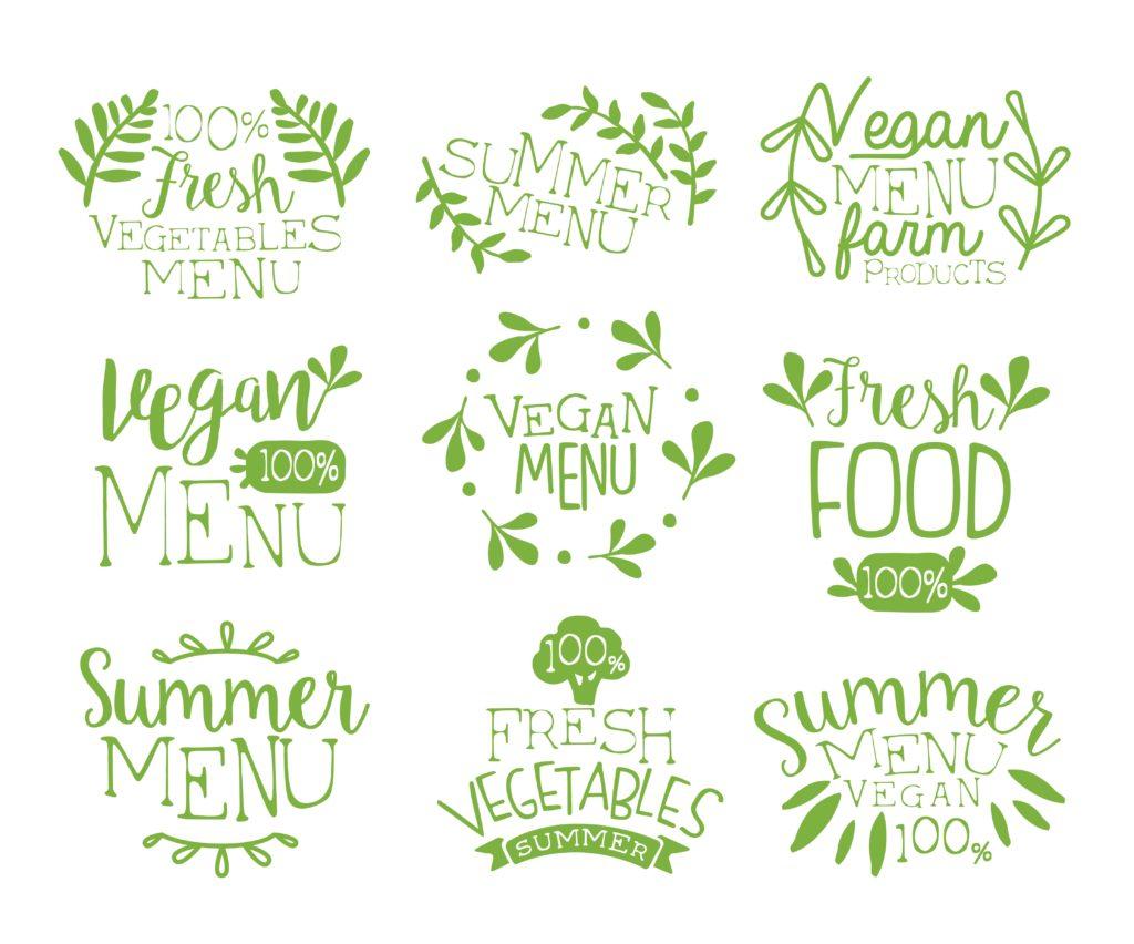 En collage av logoskisser. Illustrasjon.