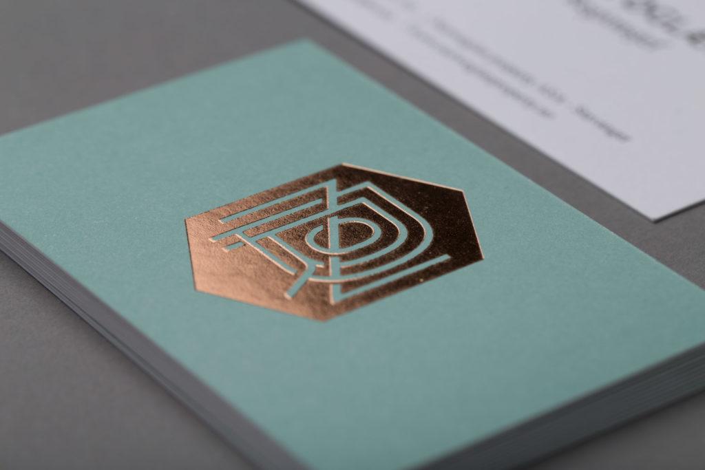Visittkort – kobber og pantone
