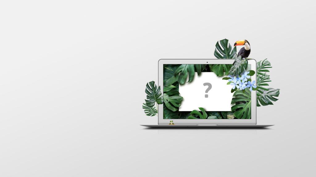 En laptop hvor bakgrunnsbildet med tropisk tema nærmest vokser ut av skjermen. Illustrasjon.