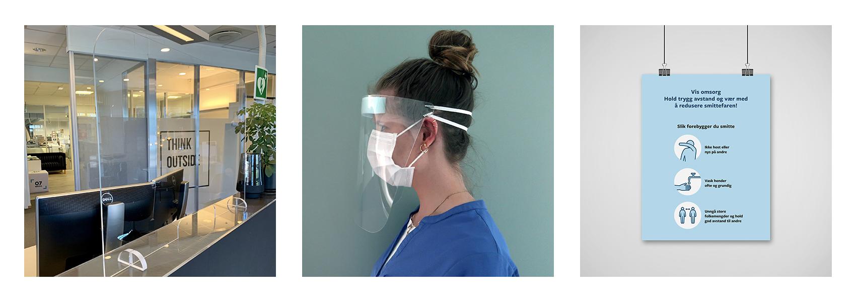 Diverse smittevernsutstyr, som pleksiglass, ansiktsvisir og informasjonsplakat.