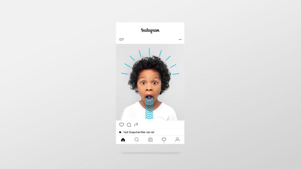 En rullende Instagram feed med forskjellige innlegg fra 07 Media. Animasjon.