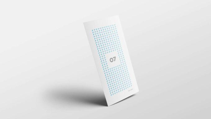 En stående trykt brosjyre med 07 Media sitt design. Illustrasjonsbilde.