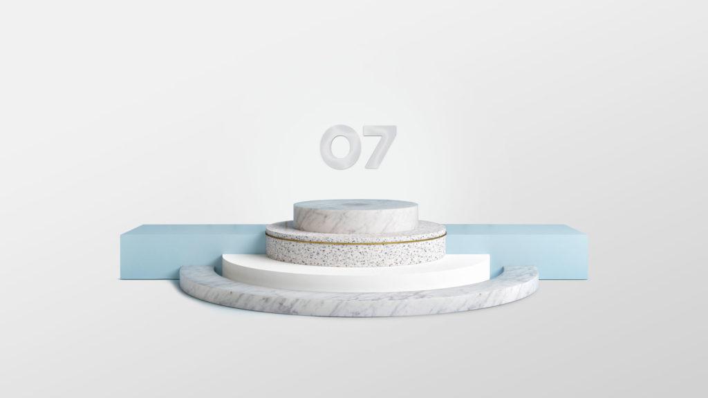 Et platå med 07 logoen svevende på toppen. Illustrasjon.