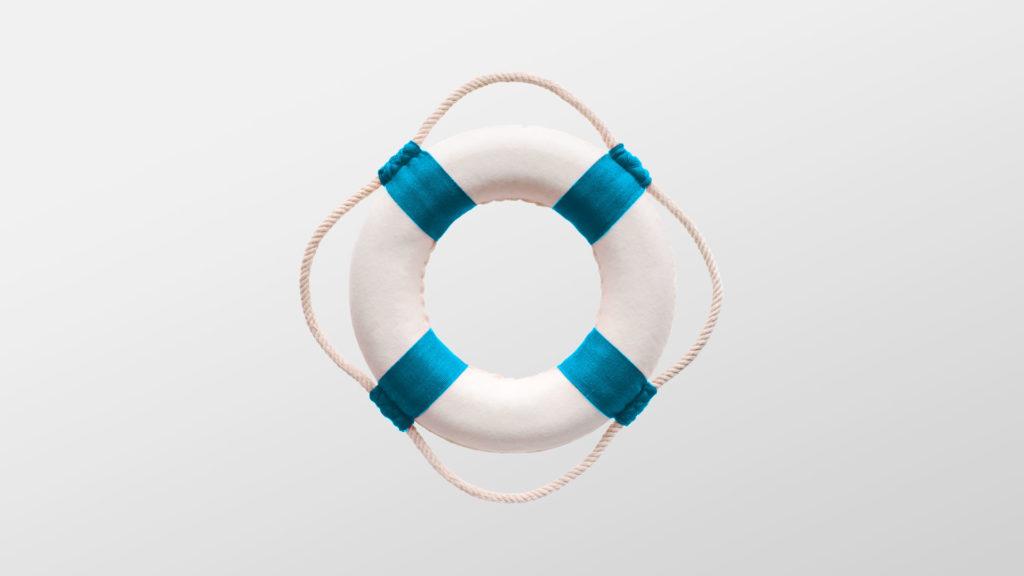 En blå og hvit livbøye. Illustrasjon.