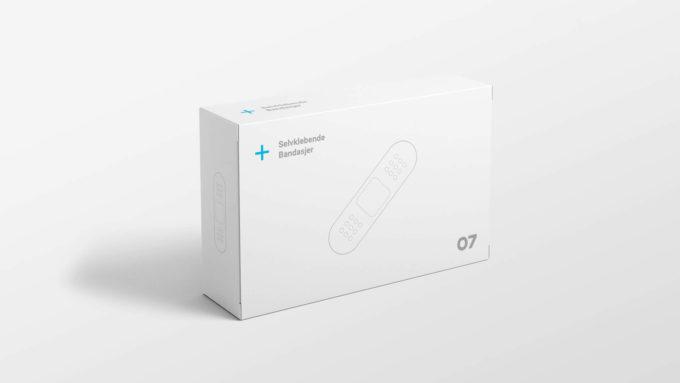 Emballasje med eget trykk av selvklebende bandasjer i 07 Media sin profil. Illustrasjonsbilde.