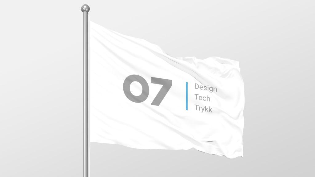 Flagg med egen logo og reklame. Illustrasjonsbilde.