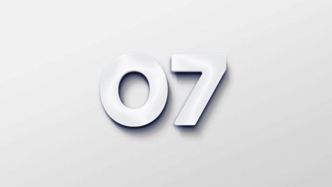 Et skilt med tekst som viser 07s logo som lysskilt, Illustrasjonsbilde.