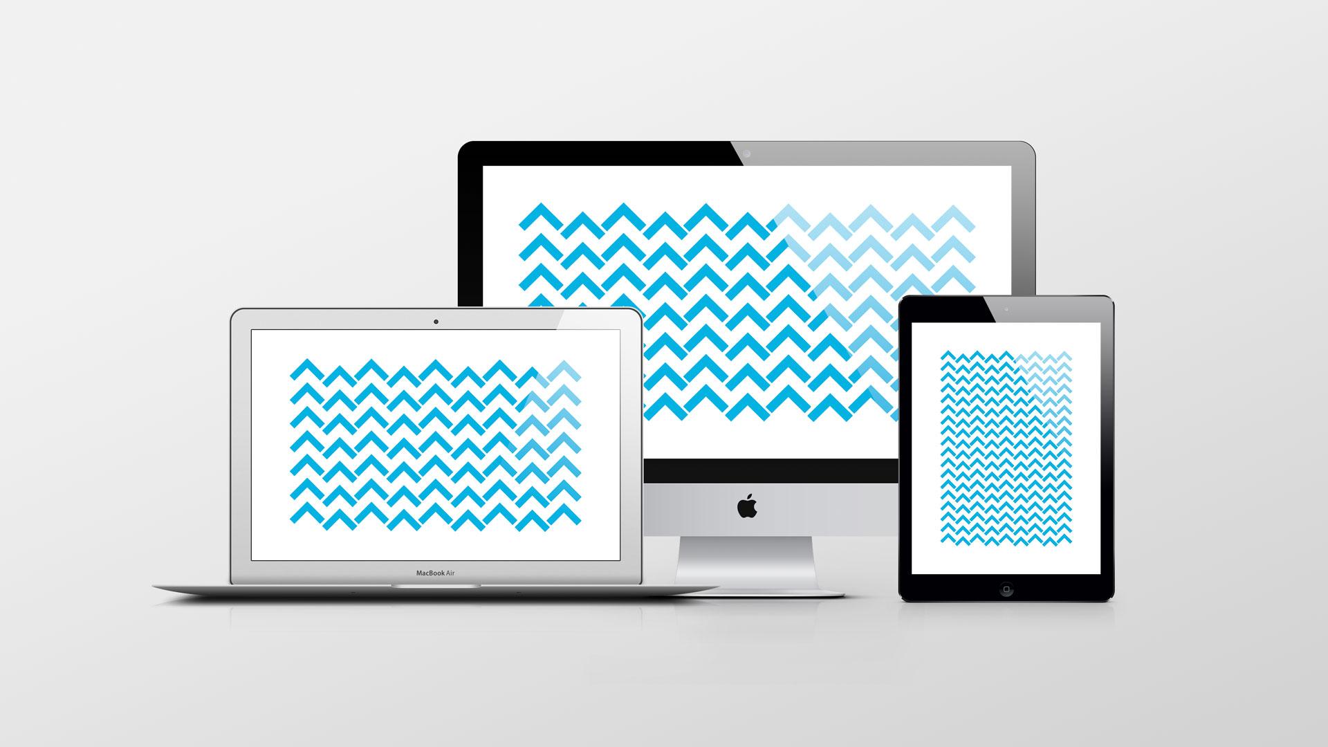 Tre skjermer, en stasjonær PC, en bærbar PC og en mobil. På skjermene er det enkel animasjon av 07 sine profilelementer. Animasjon.