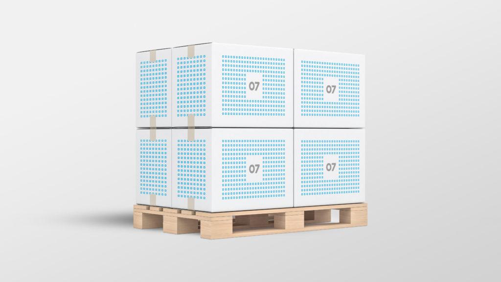 En pall med 8 pappkasser i 07s profil. Illustrasjonsbilde.