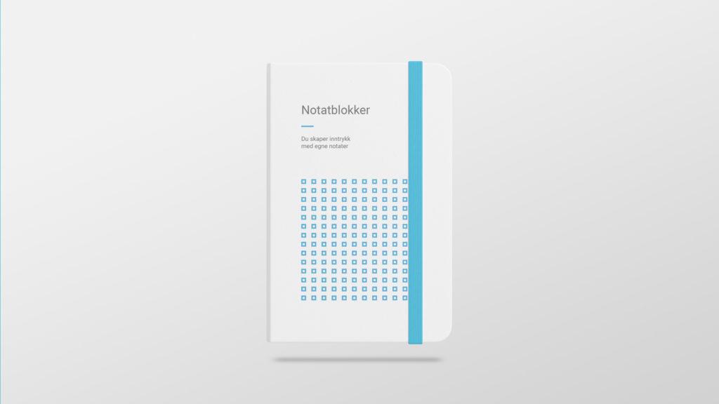 Notatblokk med logo og eget design. Illustrasjonsbilde.