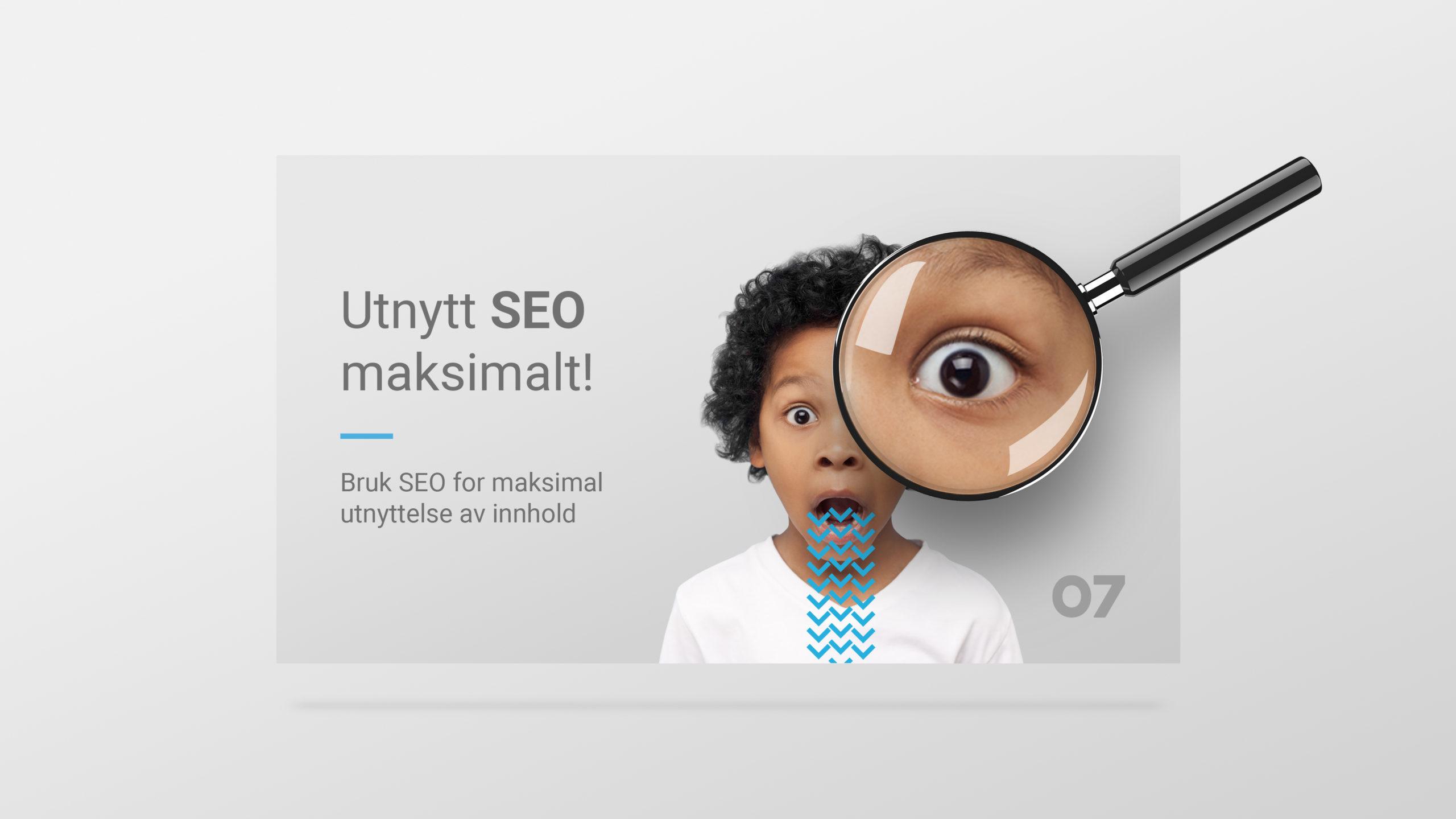 """En fiktiv nettside hvor et forstørrelsesglass uthever en del av skjermen. Overskriften sier """"Utnytt SEO maksimalt!"""". Illustrasjonsbilde."""