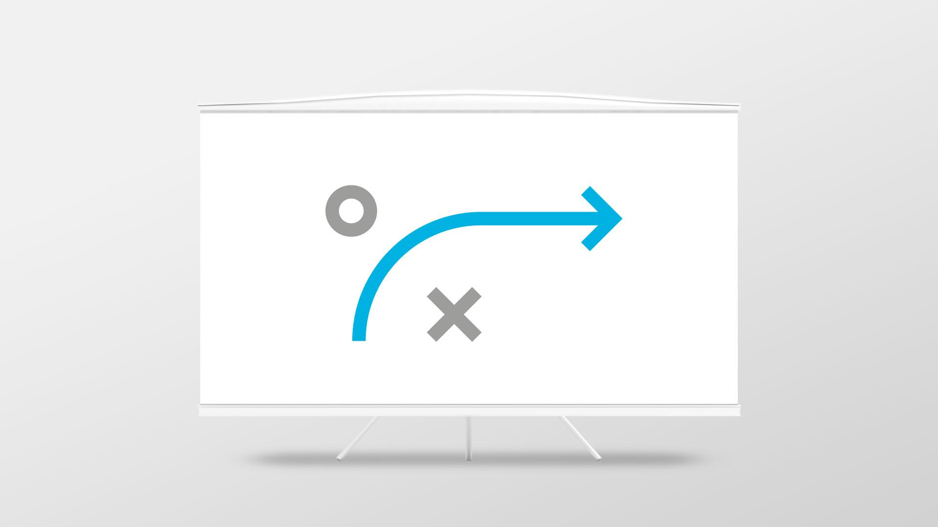 En whiteboard tavle med piler og symboler. Illustrasjonsbilde.