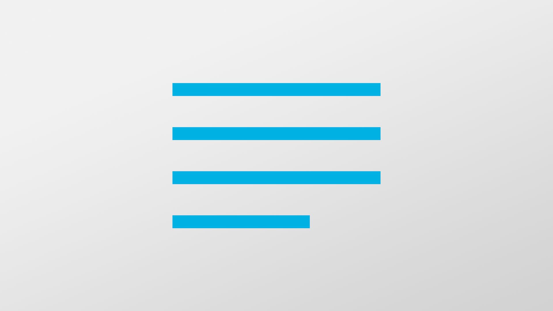 Fire blå streker som skal symbolisere tekst. Illustrasjon.