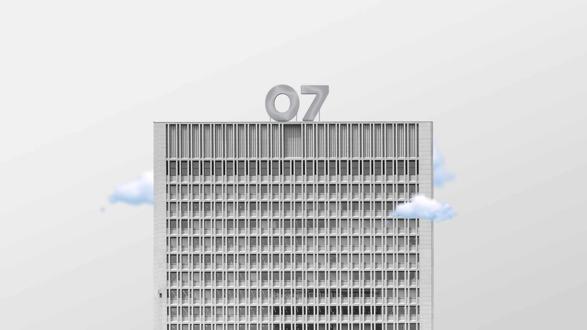 En illutrert skyskraper med et stort 07-logo skilt på taket. Illustrasjonsbilde.