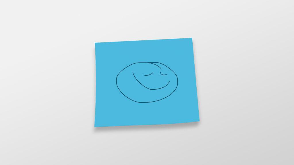 En blå post-it lapp med et tegnet smilefjes. Illustrasjonsbilde.