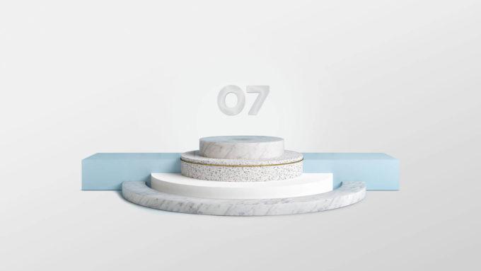 Et platå med 07 logoen svevende på toppen, illustrerer butikkmateriell