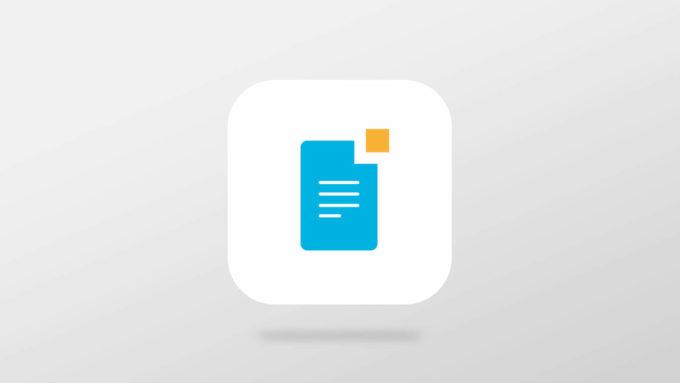 Et ikon for å publisere i mPublish, med et blått ark med linjer og en liten oransje firkant i høyre hjørne. Illustrasjon.