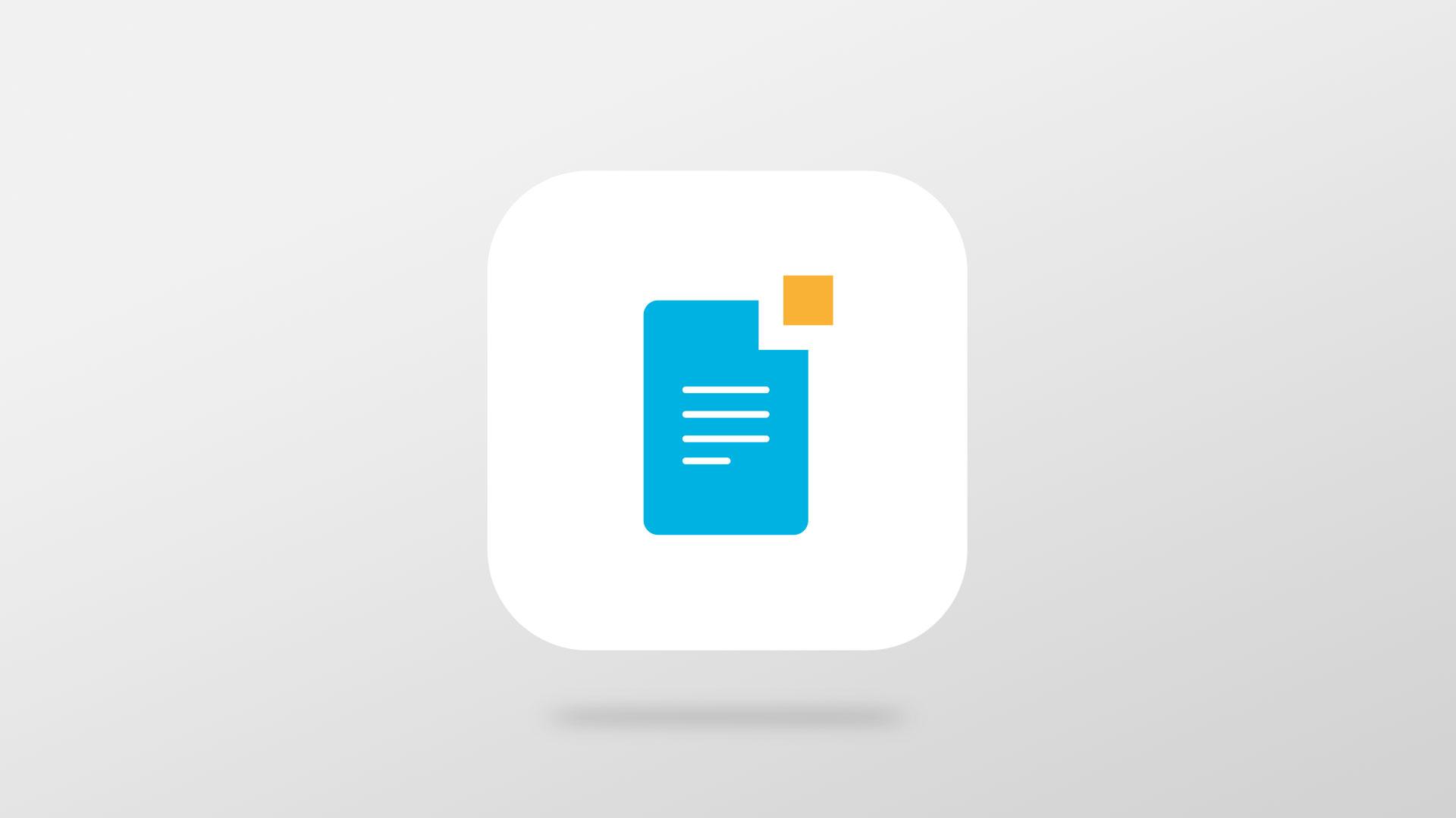 Et ikon for mPublish, med et blått ark med linjer og en liten oransje firkant i høyre hjørne. Illustrasjon.