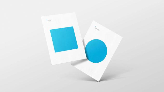 """To plakater med trykk av to blå symboler, og teksten """"Raster"""" og """"Pixel"""". Illustrasjonsbilde."""