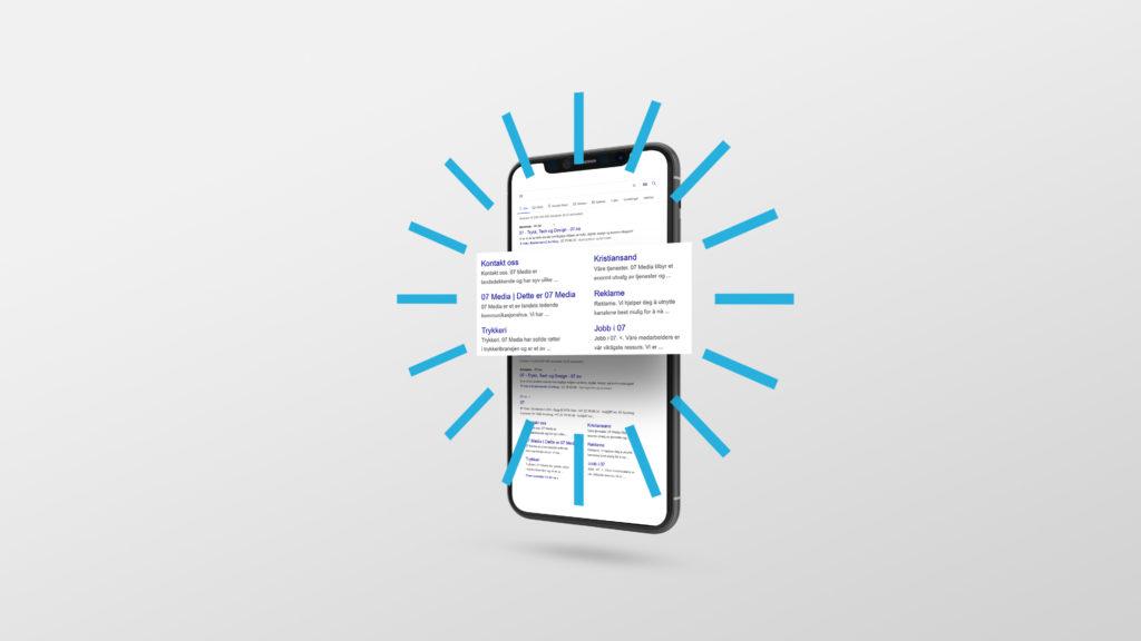 En mobilskjerm med Googlesøk, og et uthevet skjermbilde av Google Ads. Illustrasjonsbilde.