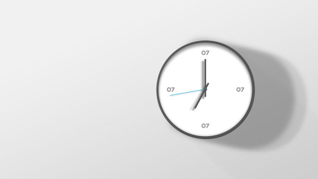 En klokke med 07 logo på plassene til 3, 6, 9 og 12. Illustrasjon.