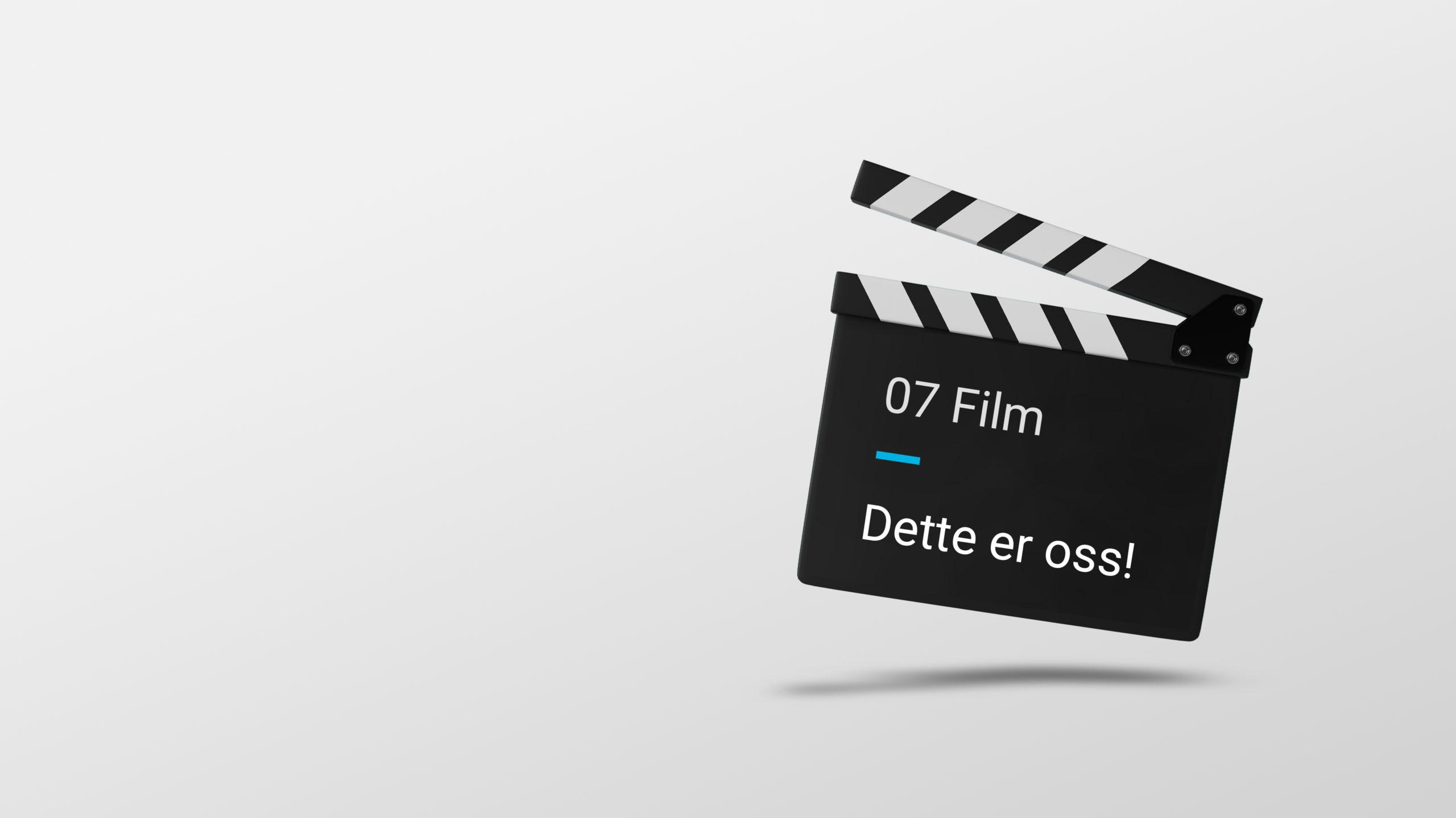 """En filmklapper med teksten """"07 film. Dette er oss!"""". Illustrasjon."""