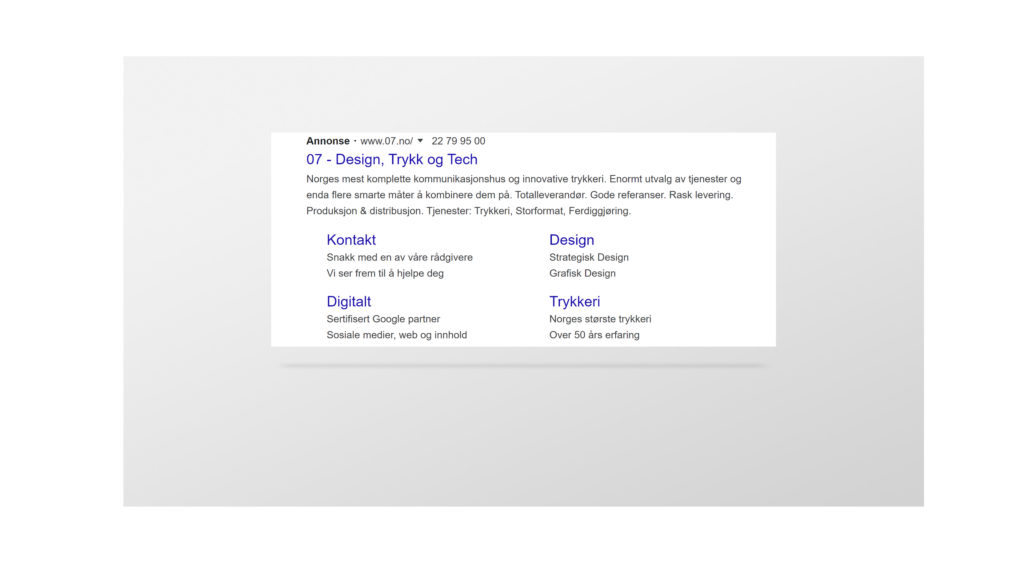 Screenshot av annonse hos Google. Foto.