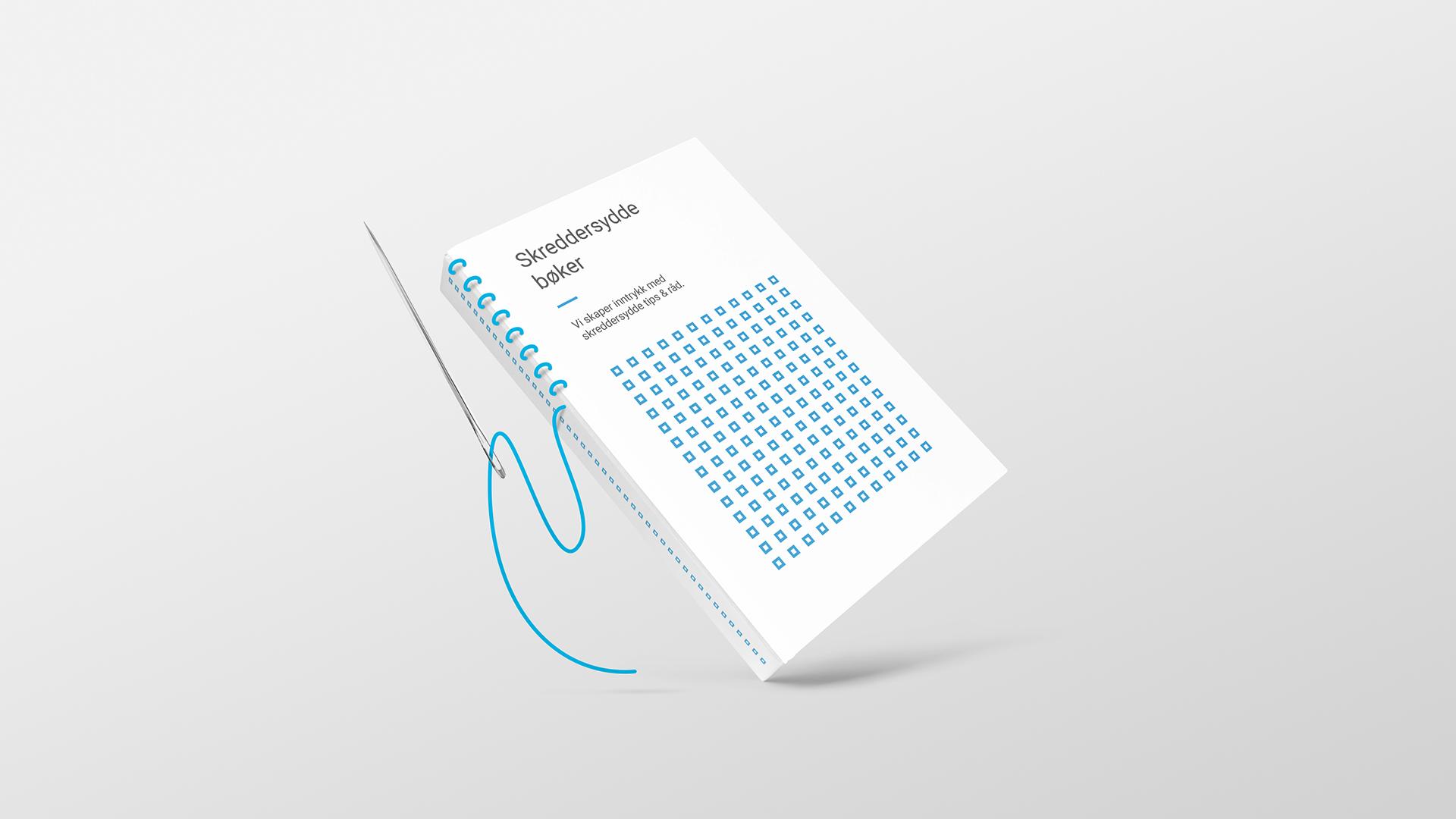 En bok i 07s profil, sydd sammen i ryggen av nål og tråd. Illustrasjon.