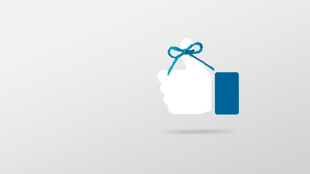 """Facebooks """"tommel opp"""" med en blå tråd knyttet i sløyfe rundt tommelen. Illustrasjon."""